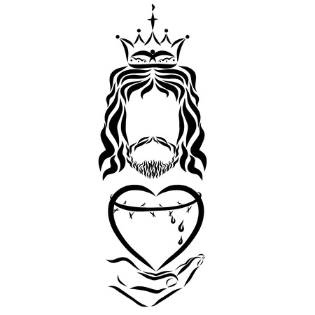 King Jesus holds a heart with a crown of thorns Stock Photo