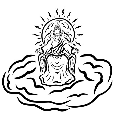 King Jesus sitting on a throne on a cloud blessing people