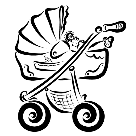 Kid playing rattle in a stroller, pattern Stock Photo