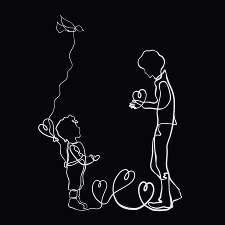 Father and child, heart as a gift, drawing one long line on a black background