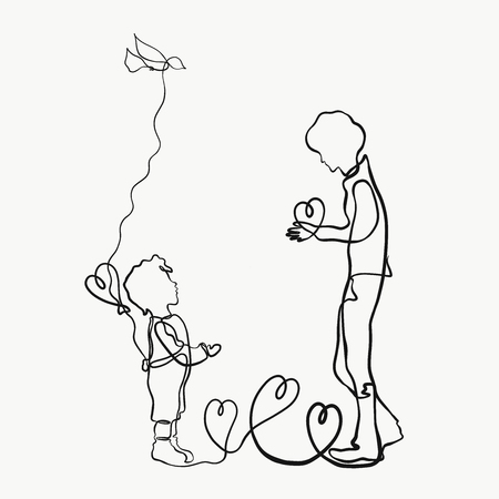 The father gives his son a heart, a creative, drawn by one line Фото со стока