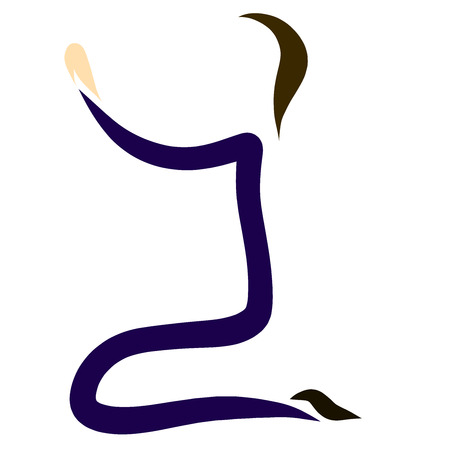 praying man, drawn by several lines, logo