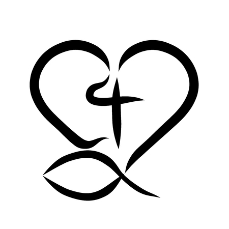 Christian symbol, fish, cross and heart