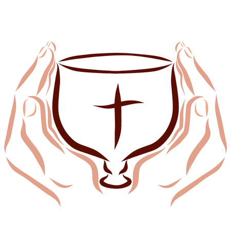 The cup with the cross in the hands of man, religion