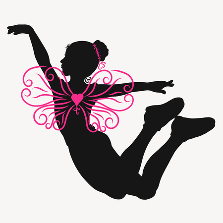 Flying or jumping girl with patterned butterfly wings