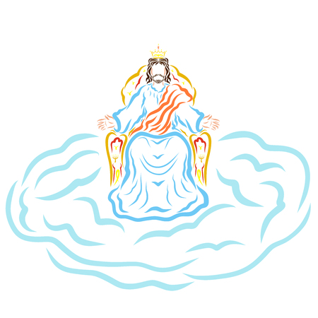 The coming of Jesus Christ, the King on the throne of heaven on the cloud