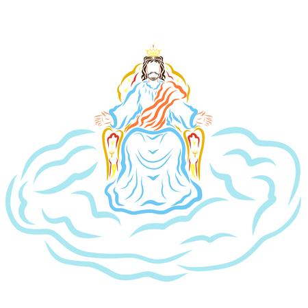 De komst van Jezus Christus, de Koning op de troon van de hemel op de wolk