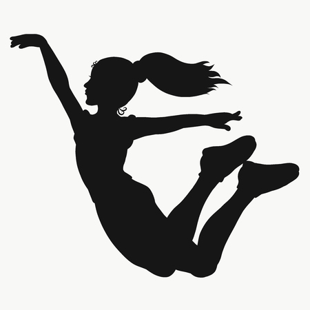 Girl jumping, young athlete, silhouette Stock Photo