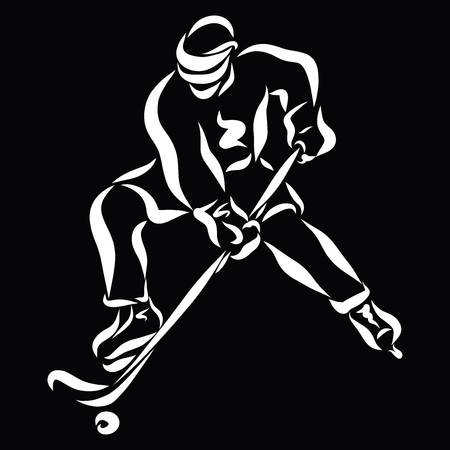 Hockey player with a stick in his hands, white sketch on a black background, action