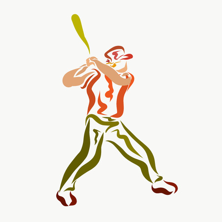 A man with a bat playing baseball, a creative 版權商用圖片 - 121260870