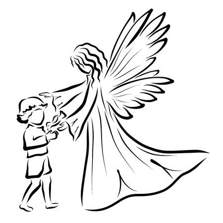 Ange, garçon et oiseau, motif noir sur fond blanc Banque d'images