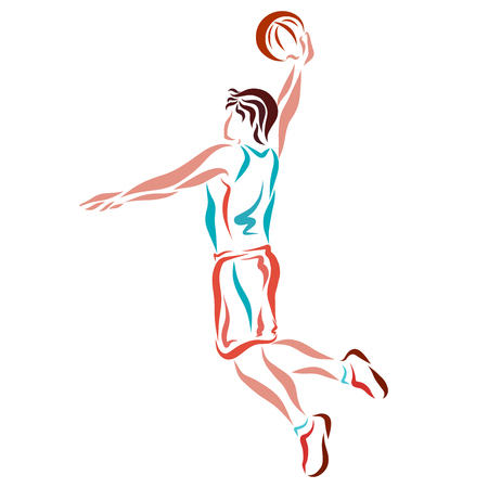 Basketball, jump with the ball, drawing smooth lines
