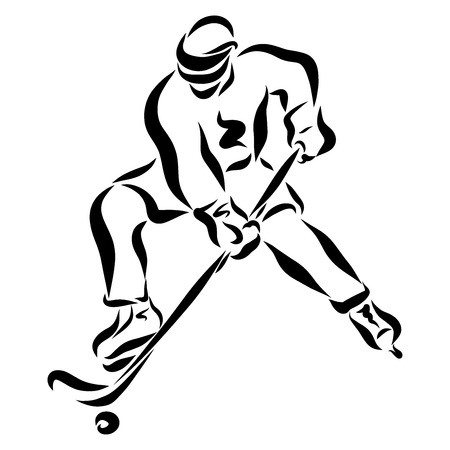 Ice hockey player during the game, drawing with black lines