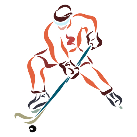 Ice hockey player in action with stick and washer Stock Photo