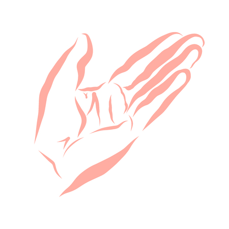 hand of a person who asks for help or explains something, contour