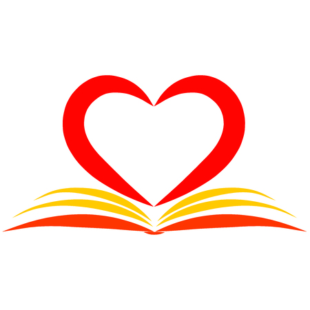 an open book and a big red heart