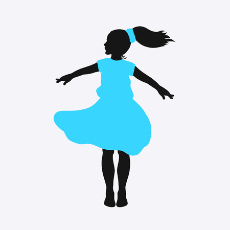 Silhouette of a jumping or dancing girl in a summer dress 스톡 콘텐츠