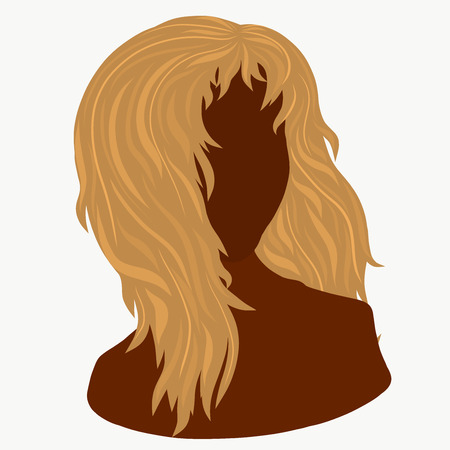 Silhouette of a young woman with lush blond hair Banco de Imagens