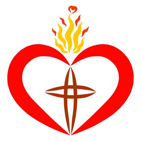 corazón con una cruz y llama la luz de la fe y la verdad Foto de archivo