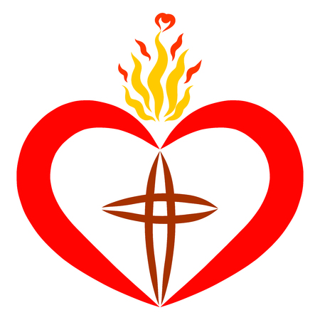 heart with a cross and flame the light of faith and truth Stock Photo