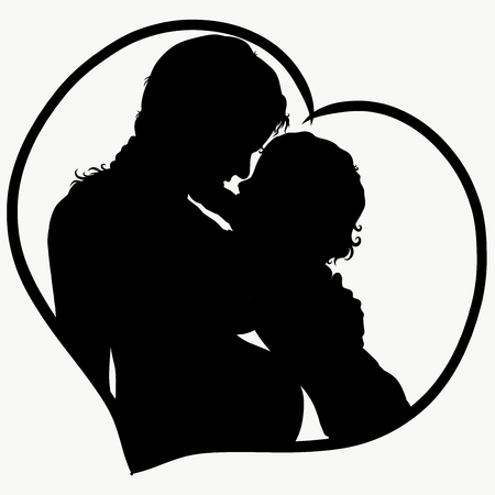 Child and pregnant mother in the heart, silhouette