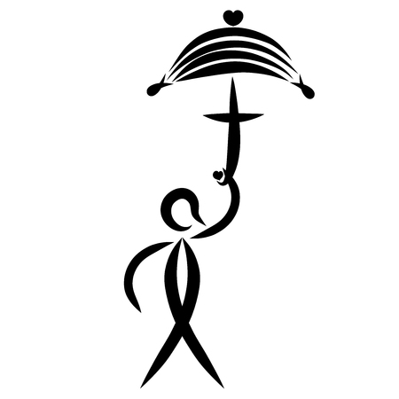 Umbrella with a cross and a heart in the hand of man, symbolic fish