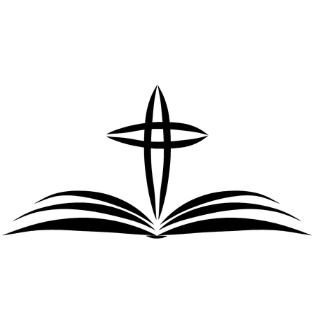open bible and cross over it, christian symbolism, black outline