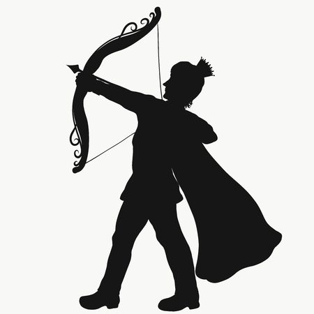 Silhouette of a young prince shooting from a beautiful bow Stok Fotoğraf