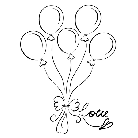 Five balloons with a bow, the word LOVE and heart 写真素材