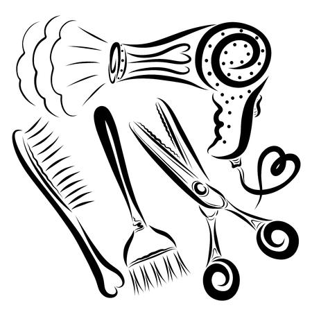 Eine Reihe von Artikeln für Friseur, Arbeit und Schönheit Standard-Bild