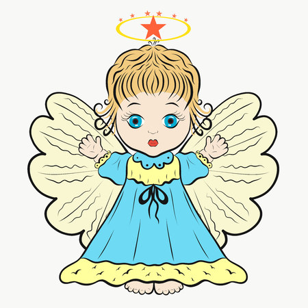 Cute little curly-haired Angel in a blue dress Imagens