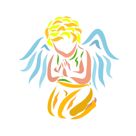 A small praying angel on his knees 版權商用圖片