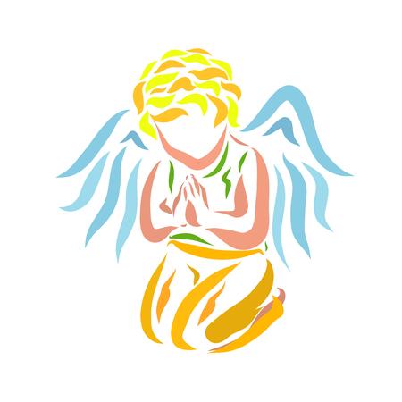 Un pequeño ángel rezando de rodillas. Foto de archivo