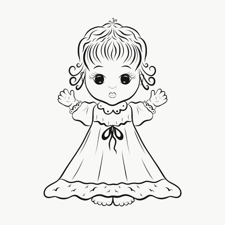 A cute little girl in a dress, a coloring page