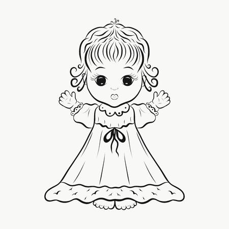 Une petite fille mignonne dans une robe, une page de coloration