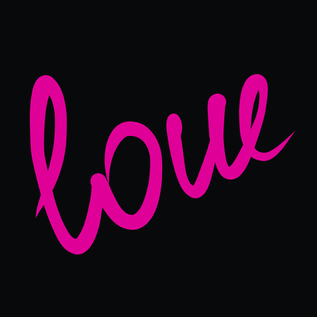 the pink word Love on a black background