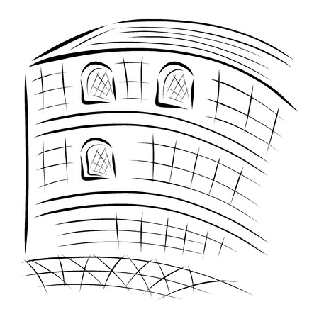 big building, abstract black sketch on white background