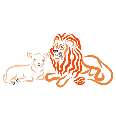 Strong lion and little lamb together, peaceful