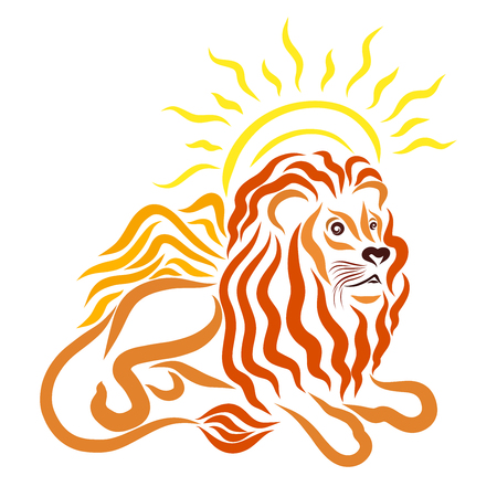 Winged young lying lion and shining sun