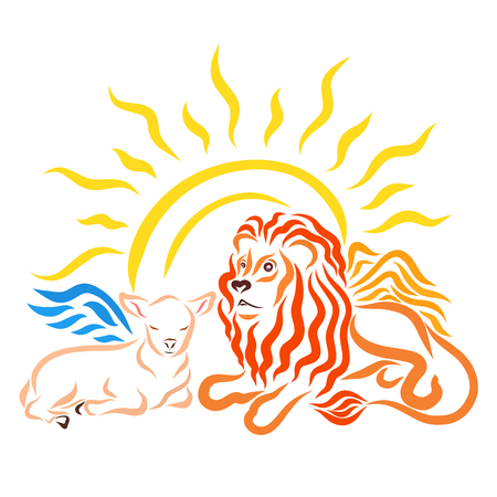 Winged lamb next to winged lion and shining sun