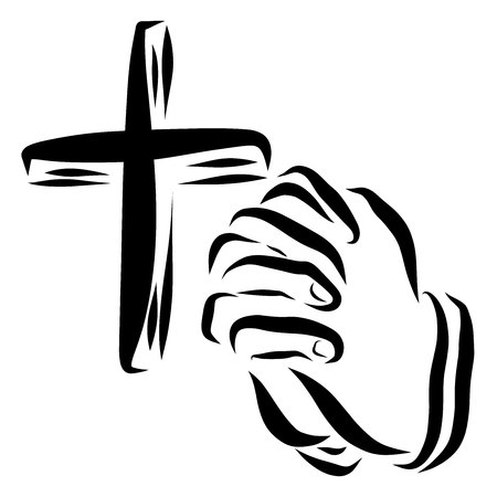 Christian cross and the hands of a person praying, faith in God Stock Photo
