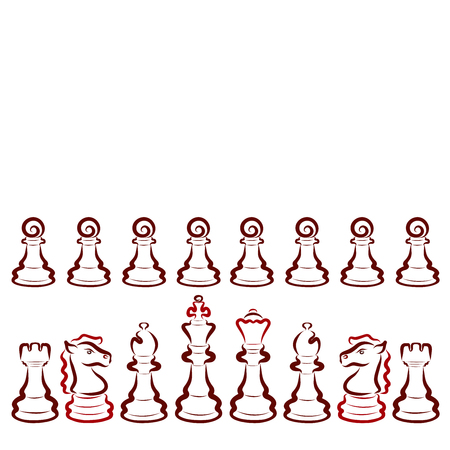 Set of dark chess pieces on a white background, pattern