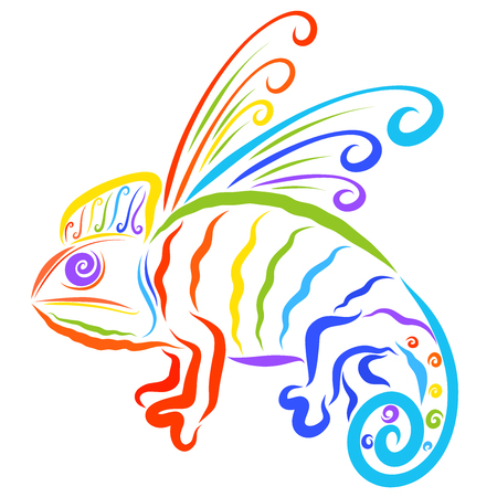 Creative winged chameleon, seven colors of the rainbow