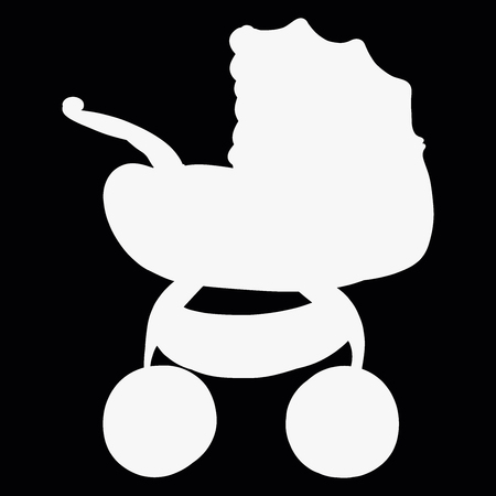 White silhouette of a baby carriage on a black background Stock Photo