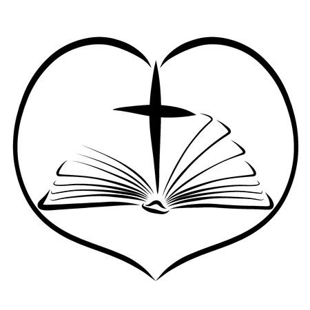Open bible and cross in a heart shaped frame, black pattern