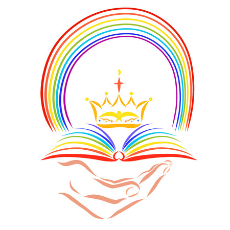Colorful Christian pattern, hand with an open book, a crown and a rainbow