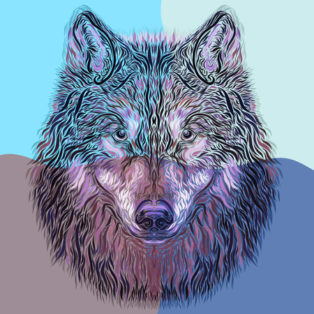 Creative imagery of the majestic wolf on a colorful background