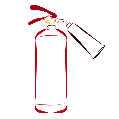 Fire extinguisher painted in smooth lines