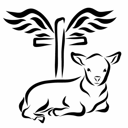A calm lamb lying in front of a cross with wings 스톡 콘텐츠