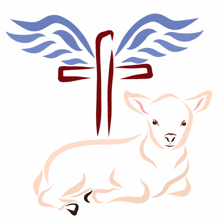 The humble lamb, the cross and wings
